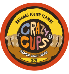 Crazy Cups Decaf Bananas Foster Flambe, Single Serve Coffee